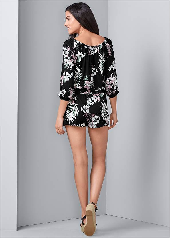 Back View Casual Floral Print Romper