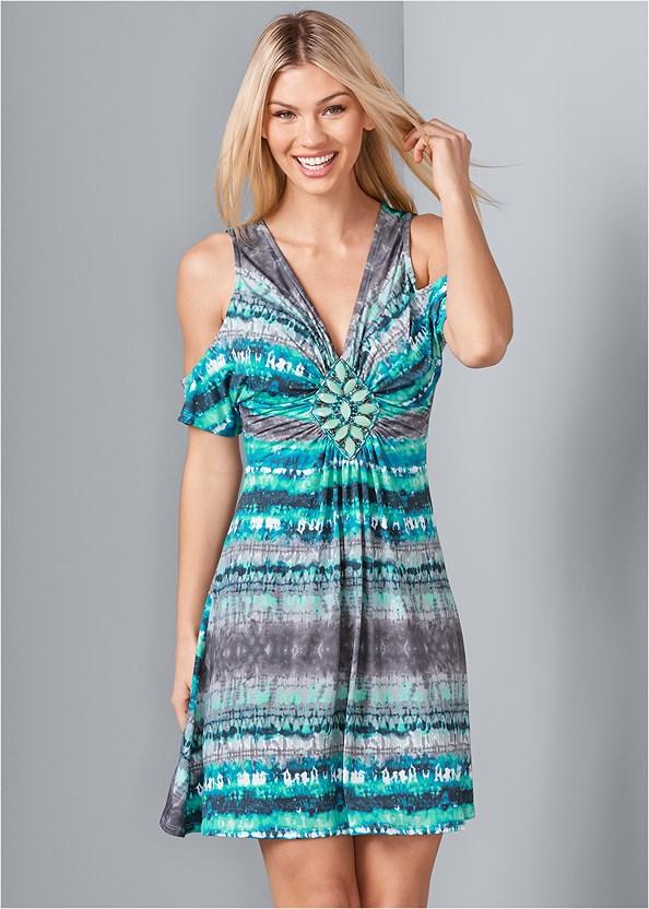 Embellished Tie Dye Dress,Lucite Detail Heels,Fringe Crossbody