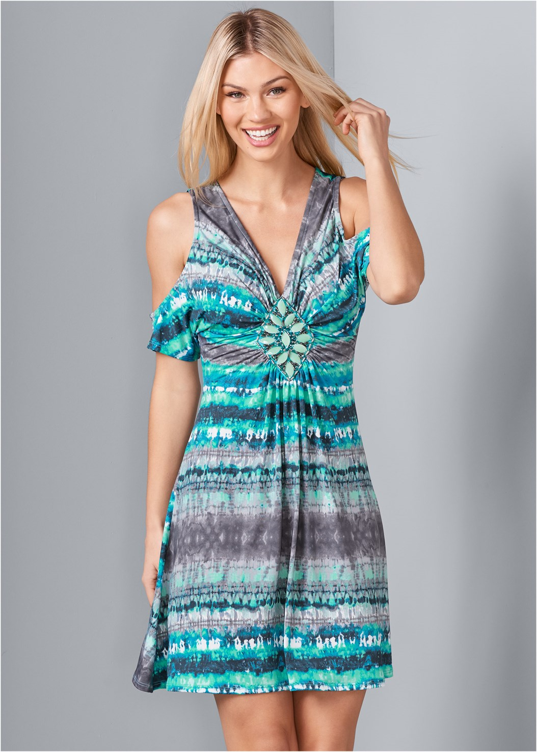 Embellished Tie Dye Dress,Lucite Detail Heels