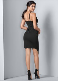 Back View Faux Wrap Dress