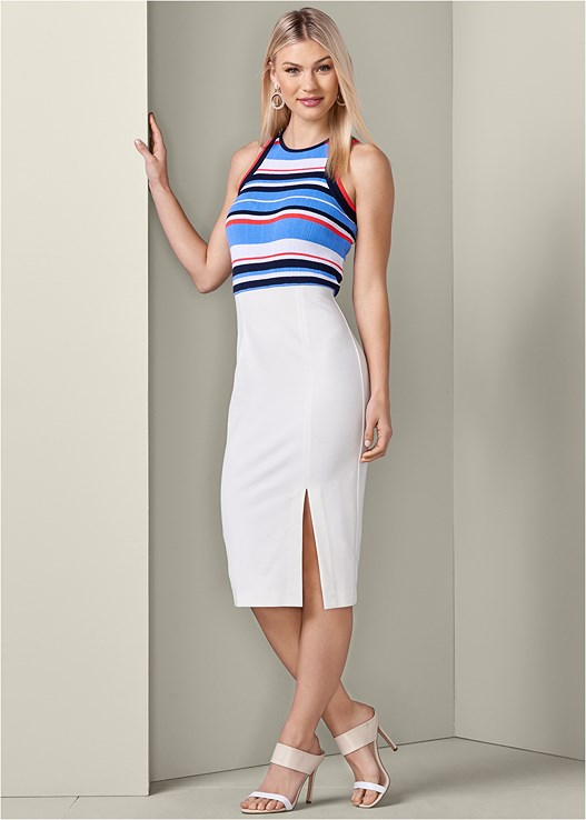 MIXED MEDIA BODYCON DRESS,COLOR BLOCK MULES