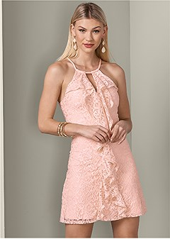 lace detail ruffle dress
