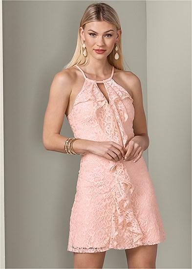 lace detail ruffle dress