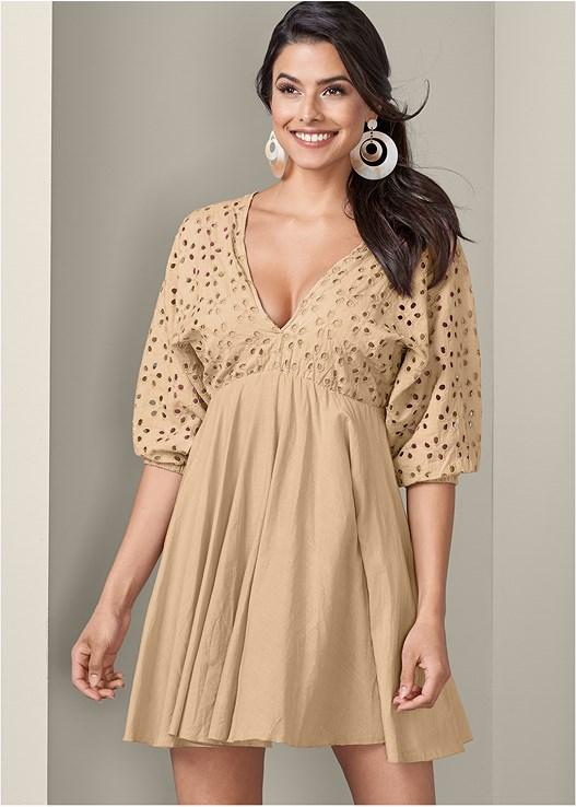 EYELET DRESS,RESIN DOUBLE HOOP EARRINGS