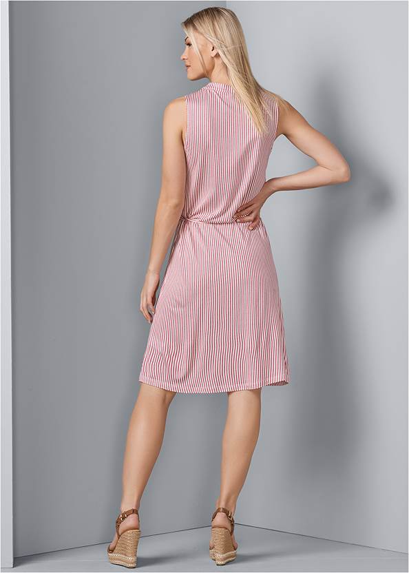 Back View Striped Casual Dress