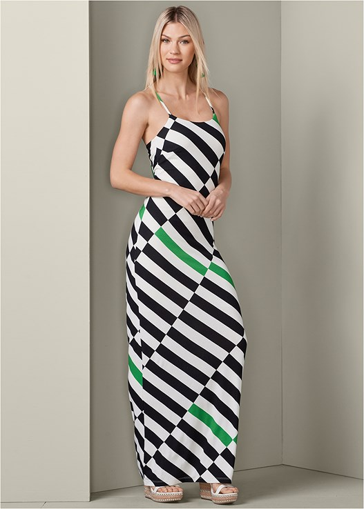 STRIPED MAXI DRESS,STUDDED WEDGES