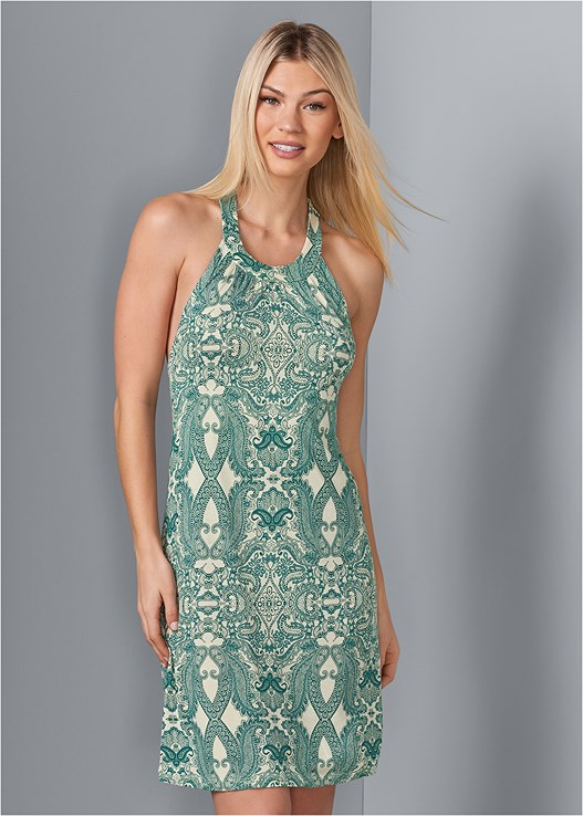 PRINTED CASUAL DRESS,EMBELLISHED THONG SANDALS,STRAW FRINGE HAT,PALM TREE EARRINGS