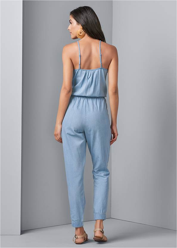 Back View Chambray Jumpsuit
