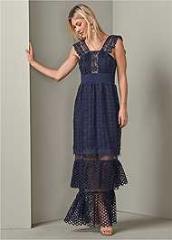 Front View Tiered Lace Evening Dress