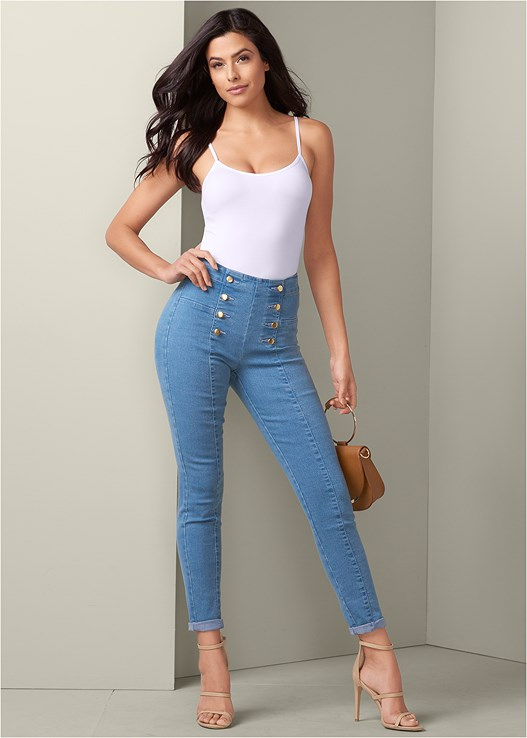 BUTTON DETAIL SKINNY JEANS,SEAMLESS CAMI,LACE TOP PANTIES 5 FOR $29,HIGH HEEL STRAPPY SANDALS,CIRCLE DETAIL HANDBAG