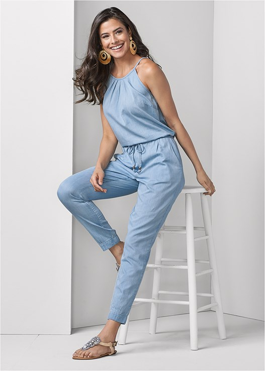 CHAMBRAY JUMPSUIT,SMOOTH LONGLINE PUSH UP BRA,RESIN DOUBLE HOOP EARRINGS