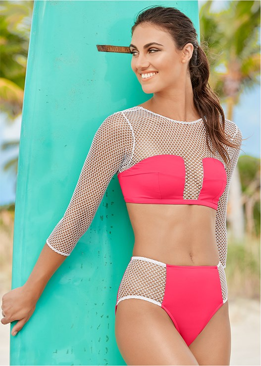 MESH SLEEVED CROP TOP,MESH BIKINI BOTTOM,MESH SIDE LOW RISE BOTTOM,HIGH WAIST MODERATE BOTTOM,HIGH WAIST FULL CUT BOTTOM