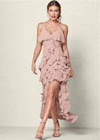 ruffle detail long dress