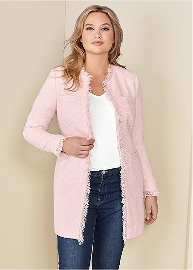 Plus Size Open Front Tweed Fringe Jacket