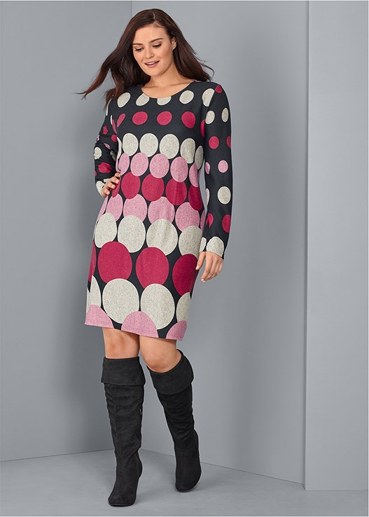 ABSTRACT SWEATER DRESS,OVER THE KNEE BOOTS