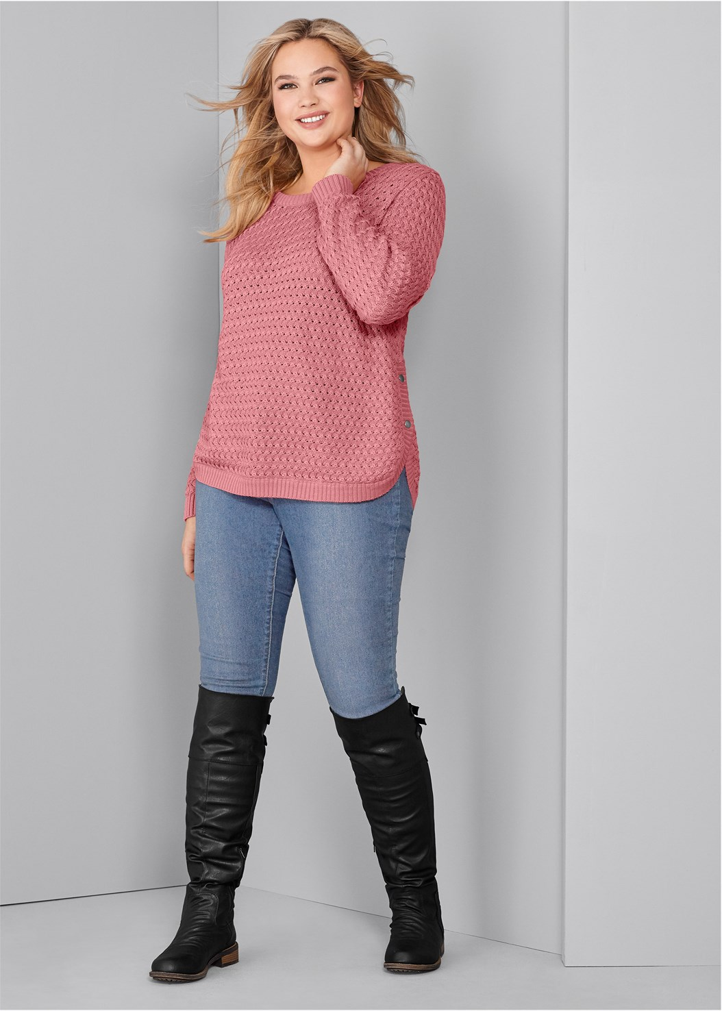 Button Detail Sweater,Basic Cami Two Pack,Mid Rise Color Skinny Jeans,Buckle Knee High Boots,Stud Detail Scarf