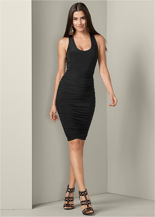 STRAPPY BACK BODYCON DRESS,STUDDED HEELS,FAUX FEATHER EARRINGS