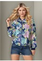 Front View Tropical Print Jacket