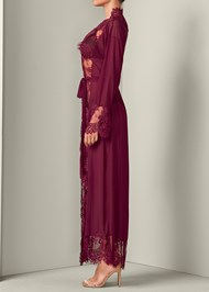 Alternate View Mesh Robe With Lace Trim