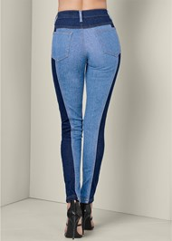Back View Two Tone Jeans