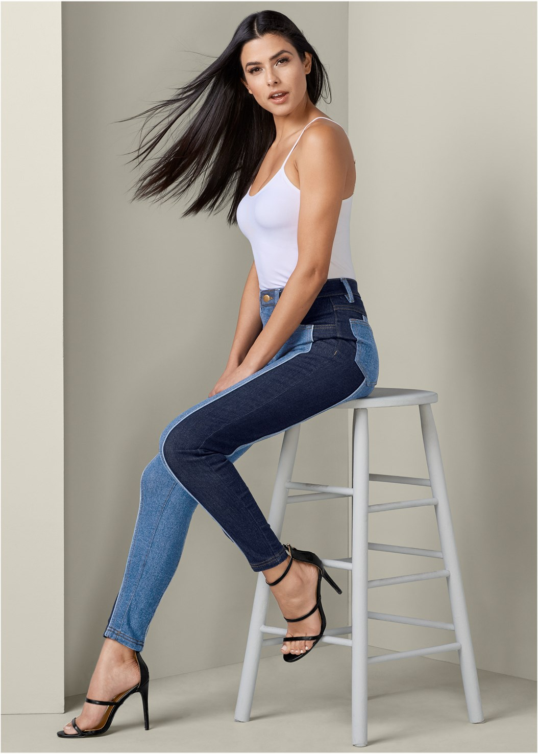 Two Tone Jeans,Basic Cami Two Pack,High Heel Strappy Sandals
