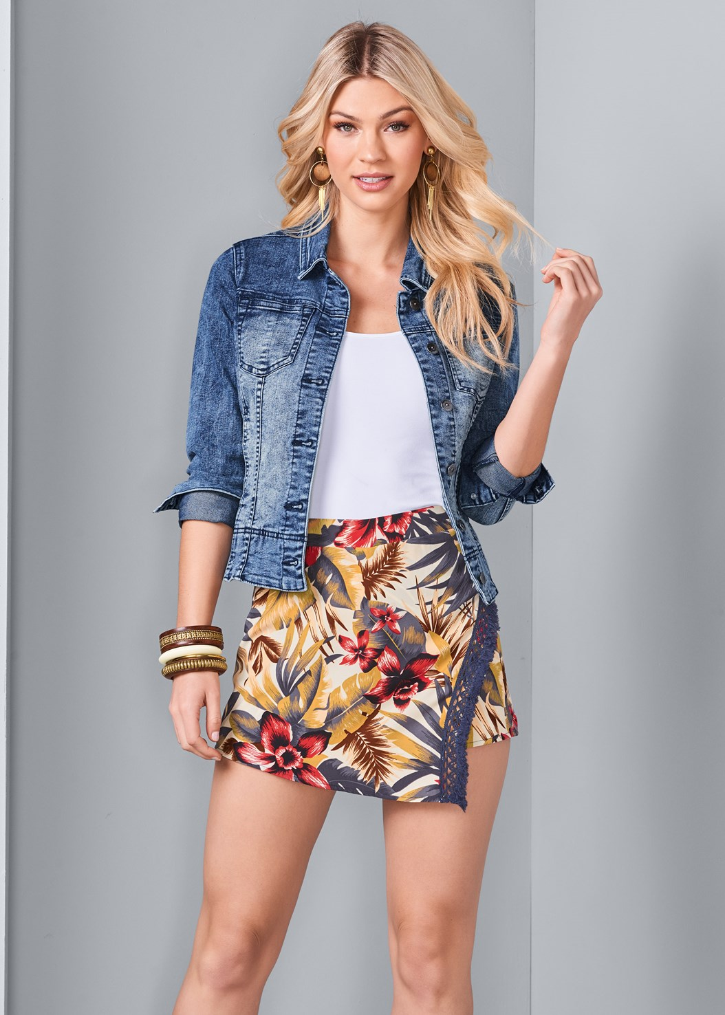 Tropical Print Skort,Basic Cami Two Pack,Jean Jacket,High Heel Strappy Sandals
