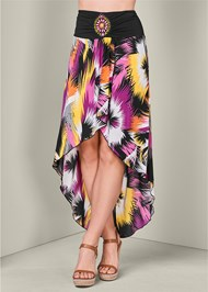 Waist down front view Print High Low Skirt