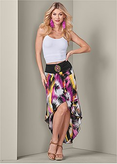 print high low skirt