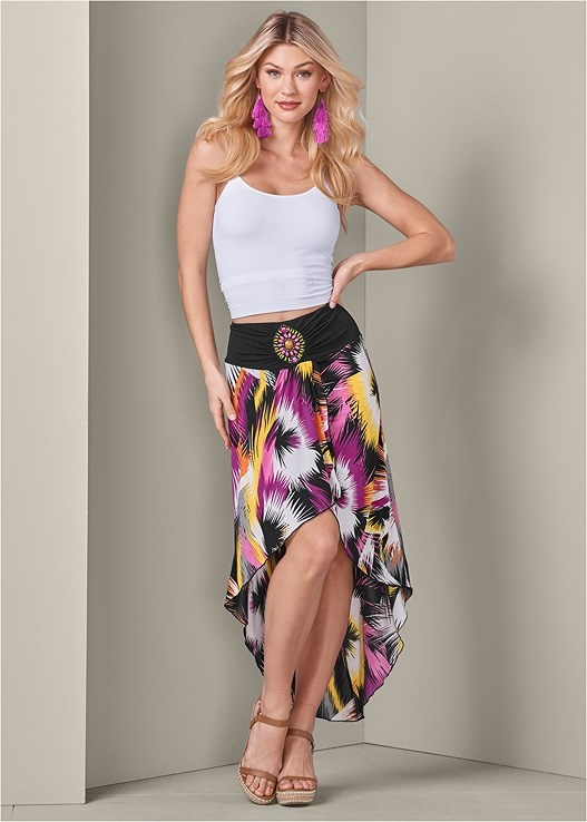 PRINT HIGH LOW SKIRT,SEAMLESS CAMI
