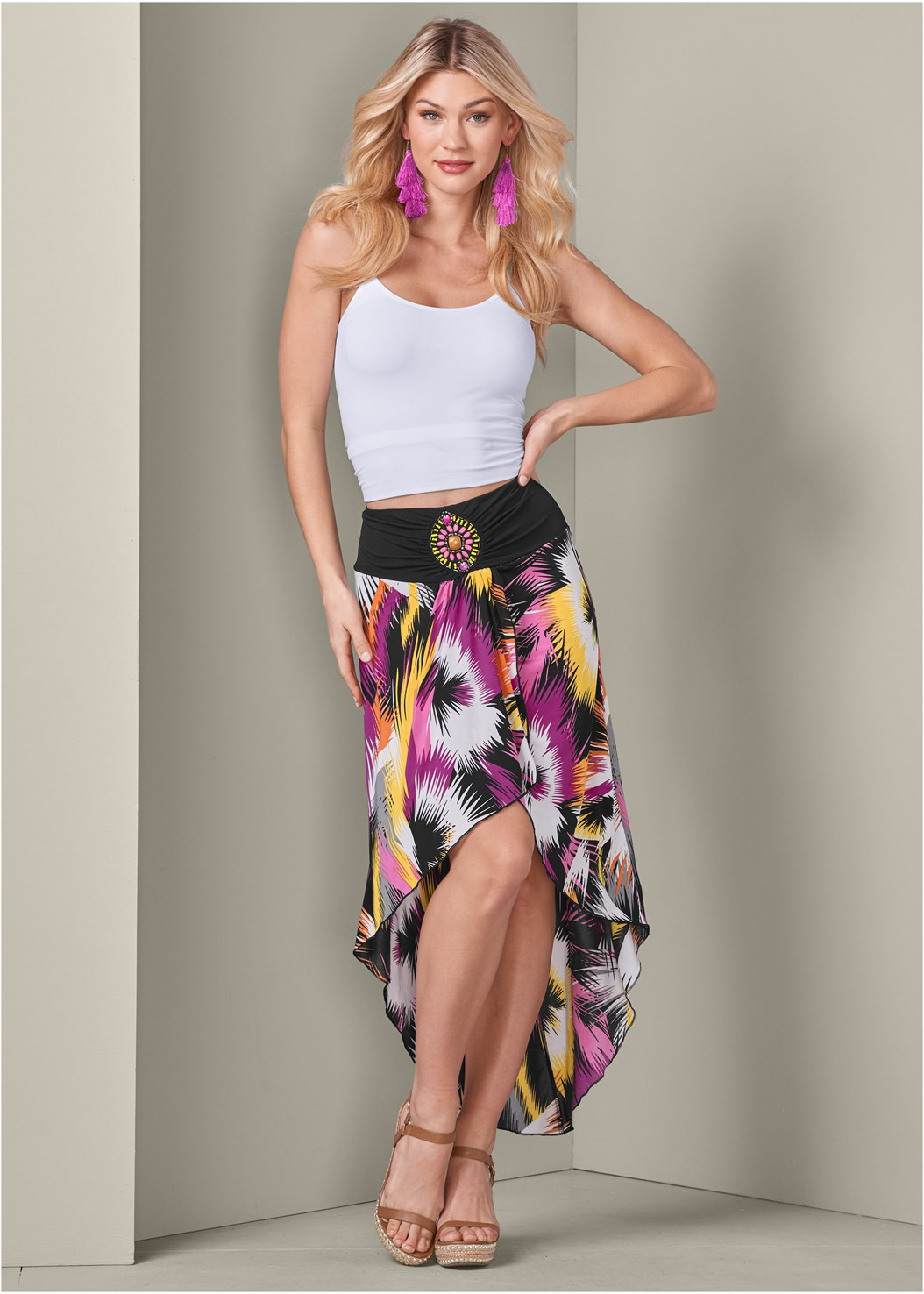 Print High Low Skirt,Basic Cami Two Pack