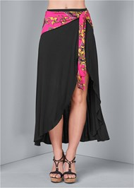 Waist down front view Tie Detail Maxi Skirt