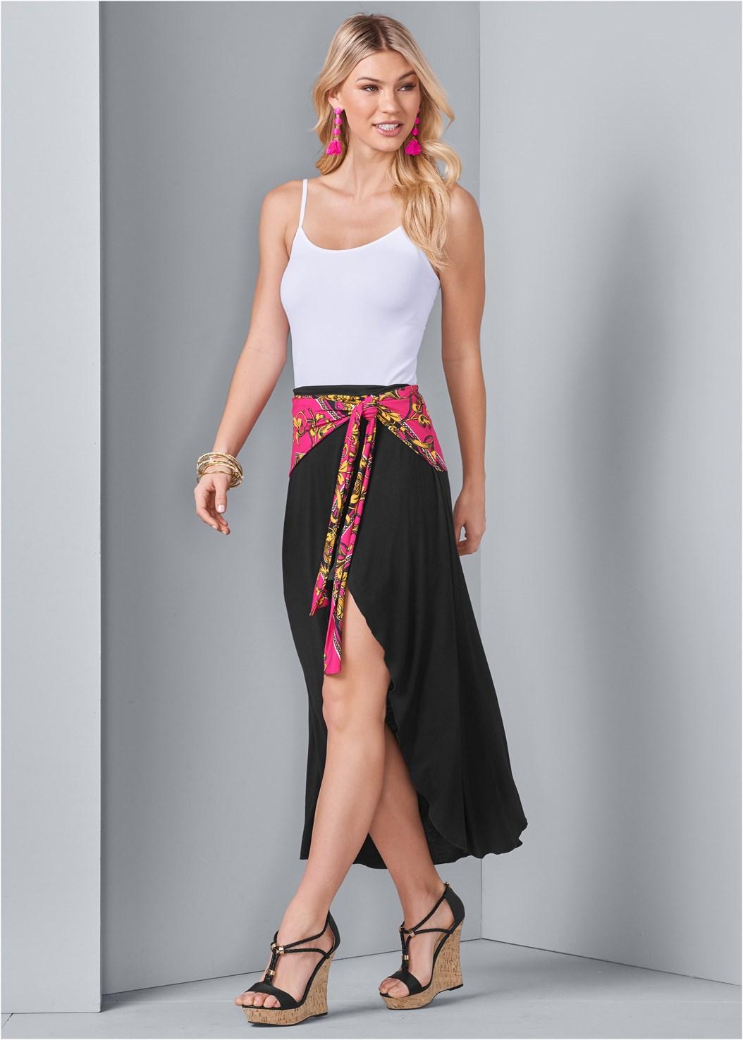 Tie Detail Maxi Skirt,Seamless Cami,Braided Detail Wedge