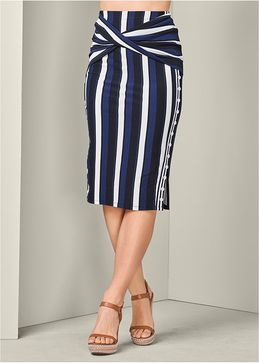 STRIPED MIDI SKIRT,JEAN JACKET,SEAMLESS CAMI,STUDDED WEDGES
