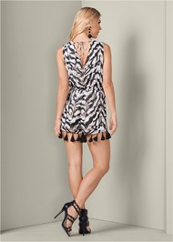 Alternate View Beaded Animal Print Romper