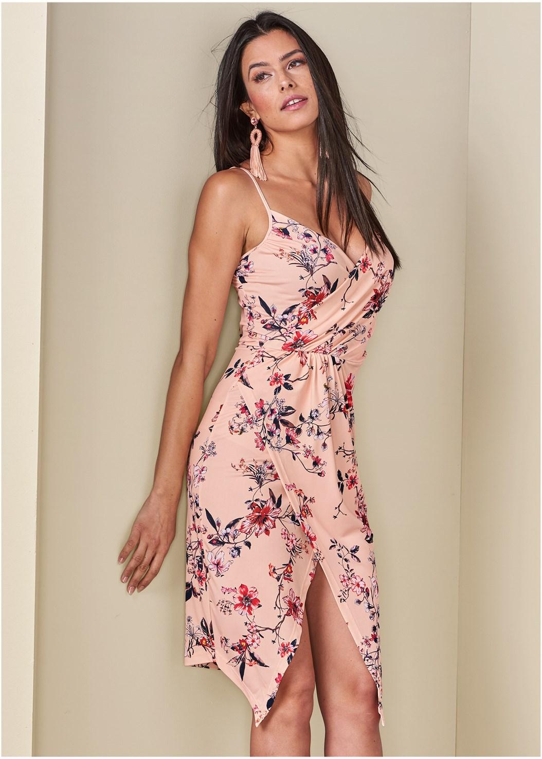 Floral Print Dress,Embellished Tassel Earrings,High Heel Strappy Sandals