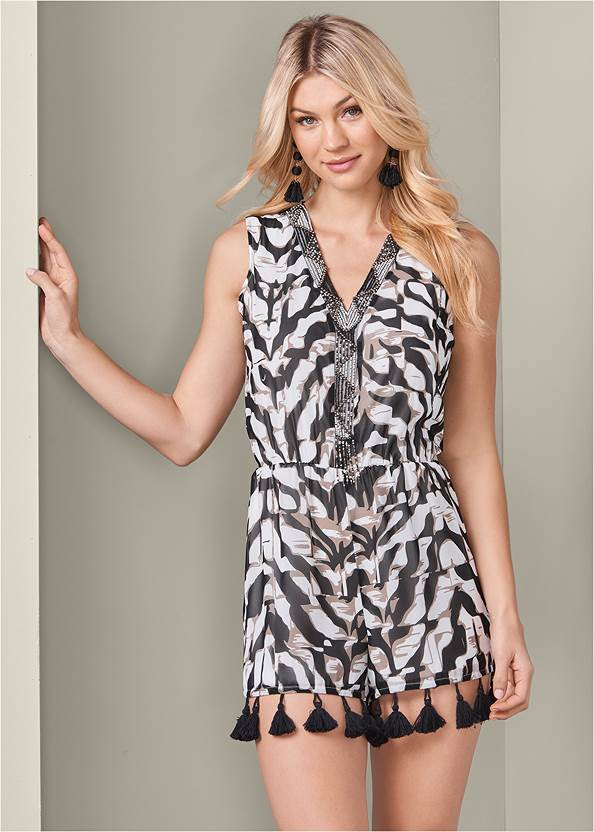 Beaded Animal Print Romper,Kissable Strappy Push Up