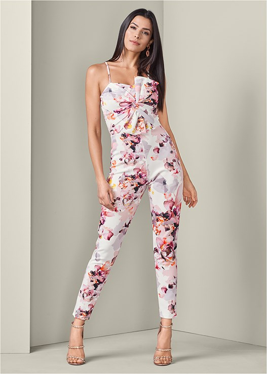 BOW DETAIL JUMPSUIT,EVERYDAY YOU STRAPLESS BRA,STUDDED STRAPPY HEELS,EMBELLISHED TASSEL EARRINGS