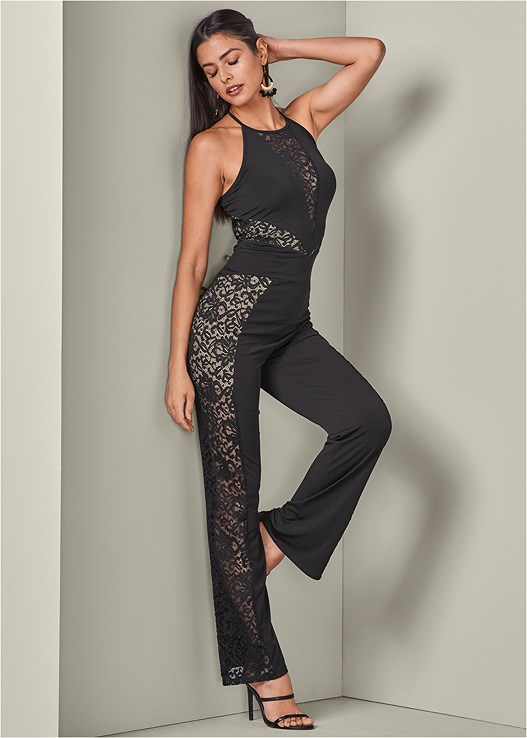 LACE DETAIL JUMPSUIT,3 PK OF PETALS,CUPID BACKLESS U PLUNGE BRA,HIGH HEEL STRAPPY SANDALS
