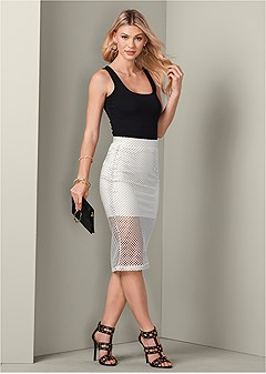 perforated midi skirt