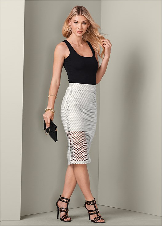 PERFORATED MIDI SKIRT,SQUARE NECK TANK TOP,STUDDED HEELS,MINI CROSSBODY