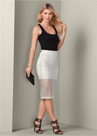 Waist down front view Perforated Midi Skirt