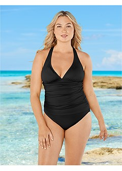 plus size smoothing v-back tankini