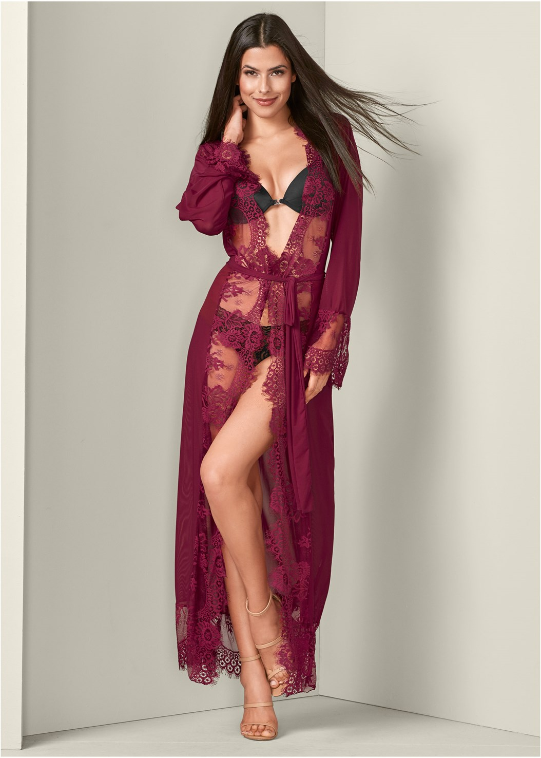 Mesh Robe With Lace Trim,High Heel Strappy Sandals