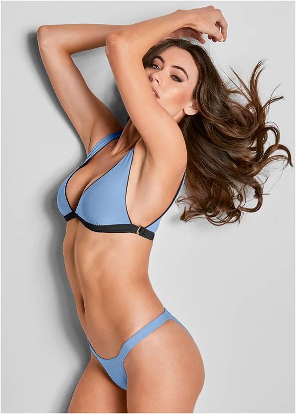 Versatility By Venus ® Reversible Bikini Bralette,Scoop Front Classic Bikini Bottom ,Mid Rise Strappy Bottom,Low Rise Twist Bottom,Slit Leg Jumpsuit Cover-Up