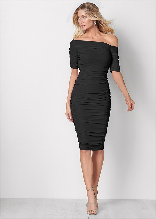 RUCHED MESH BODYCON DRESS,EVERYDAY YOU STRAPLESS BRA,HIGH HEEL STRAPPY SANDALS
