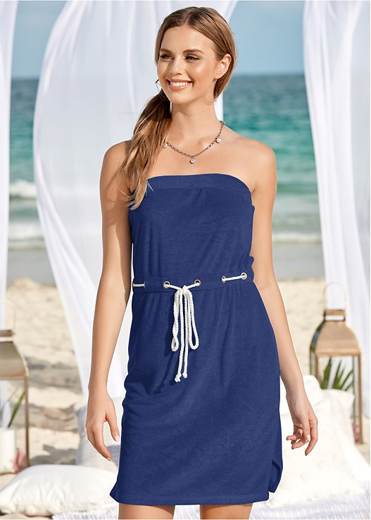 TERRY BANDEAU COVER-UP,SKIRTED HALTER ONE-PIECE