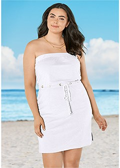 plus size terry bandeau cover-up