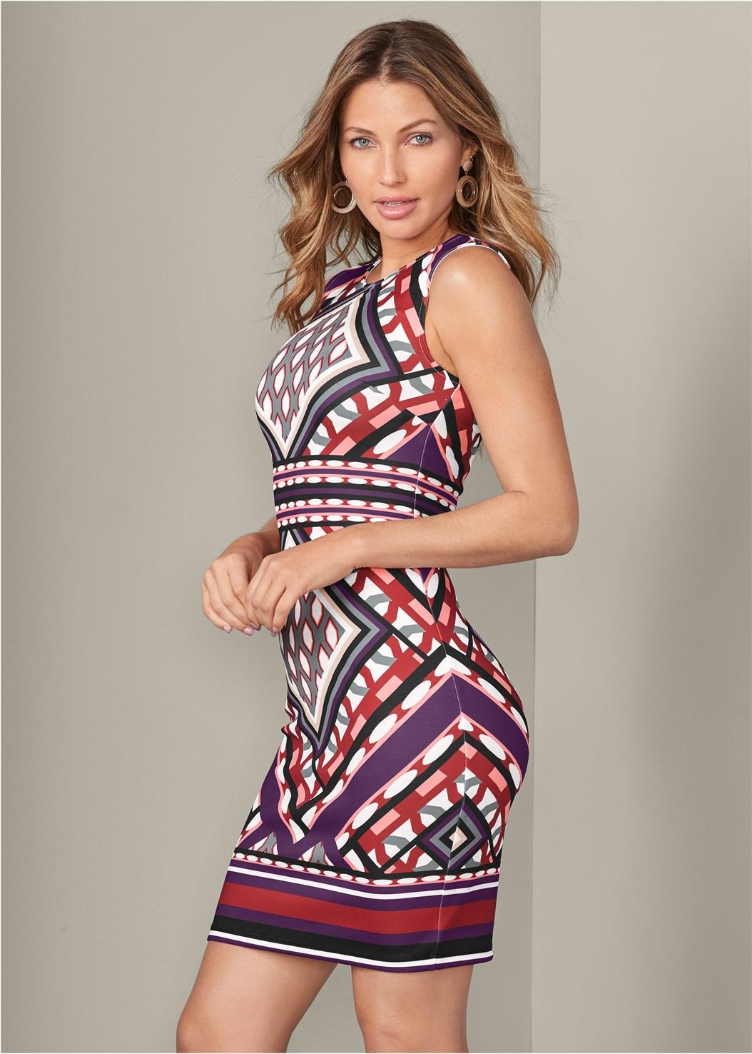 Geometric Print Dress,High Heel Strappy Sandals,Beaded Hoop Earrings