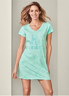 tie dye graphic sleep dress