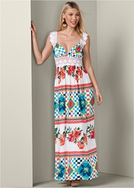 Full front view Floral Print Maxi Dress